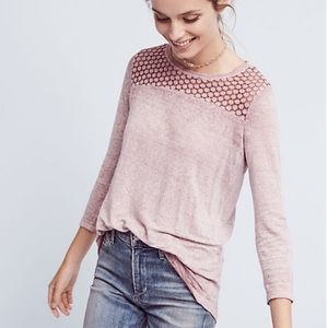 Anthropologie Akimi and Kin pink Amis linen top